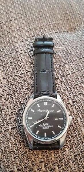 Royal Spencer Herrenuhr Quartz 3 ATM Lederband schwarz